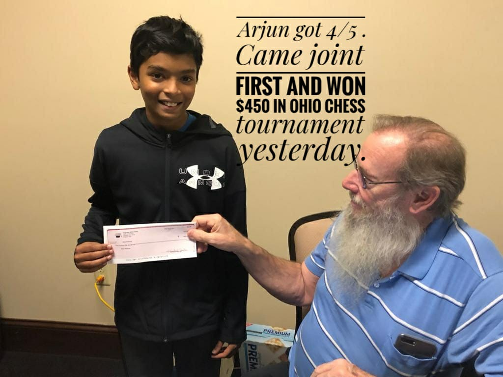 Arjun Won the Ohio Chess Tournament